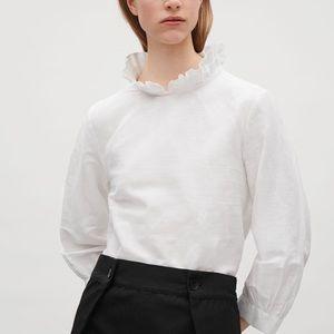 COS Frill-neck White Linen Blouse
